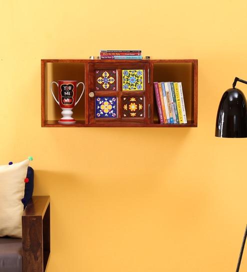 519717d22 Siramika Solid Wood Wall Shelf in Honey Oak Finish by Mudramark