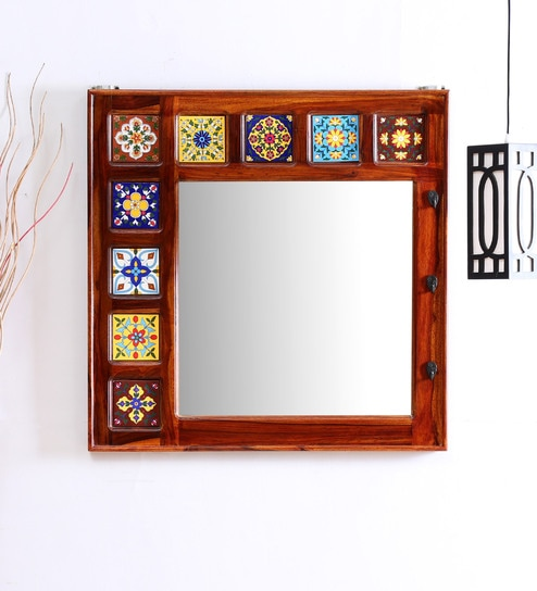 Buy Wall Art Contemporary Mirrors Siramika Square Wall Mirror with Solid Wood Frame in Honey Oak Finish by Mudramark