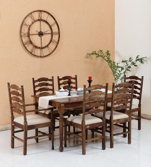 Encore Solid Wood Six Seater Dining Set 4 2 Arm Chairs In Provincial