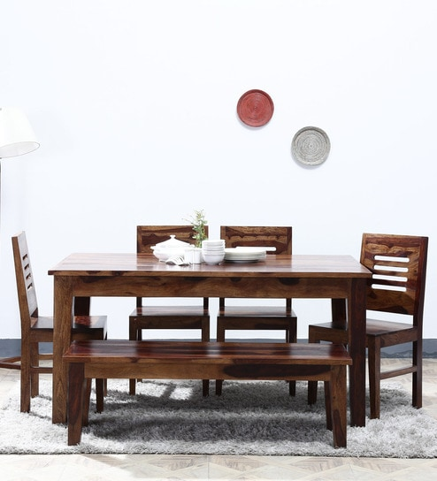 Buy Salem Six Seater Dining Set with Bench in Provincial Teak