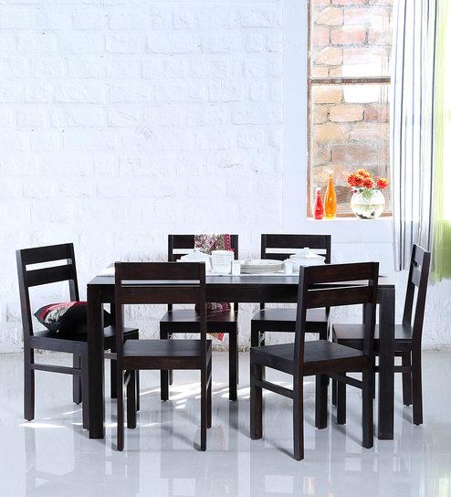 Enkel Six Seater Dining Set In Warm Chestnut Finish