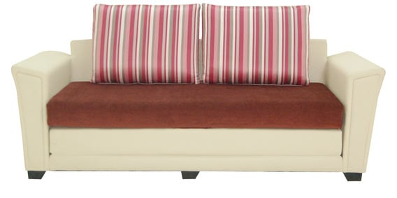 Siena Three Seater Sofa cum Bed in Magenta Colour by Furnitech