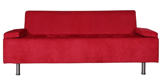 Sit N Sleep Three Seater Sofa In Red Colour By Kurl On