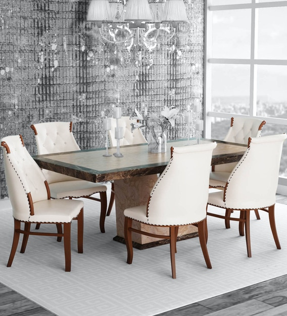 Buy Siberian 6 Seater Marble Top Dining Set In White Colour By Durian Online Traditional 6 Seater Dining Sets Dining Furniture Pepperfry Product