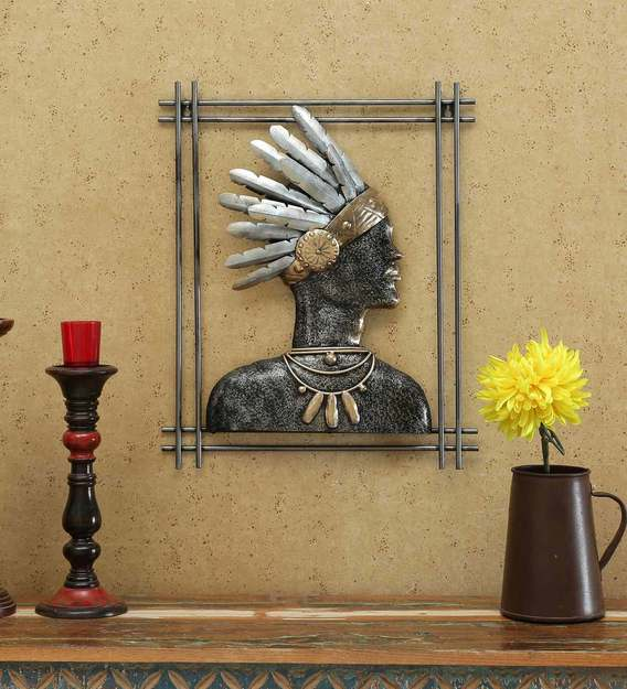 Buy Wrought Iron Tribal King In Silver Wall Art By The Shining Rays Online People Places Metal Art Metal Wall Art Home Decor Pepperfry Product