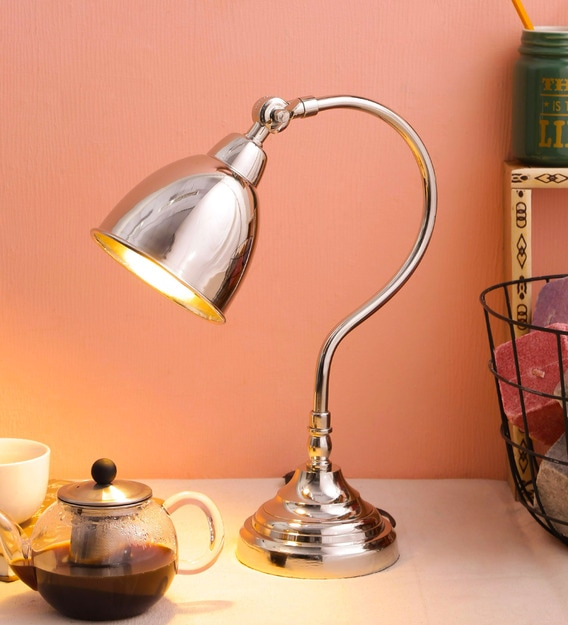 Silver Metal Table Lamp By Trendec, Metal Desk Lamps Uk