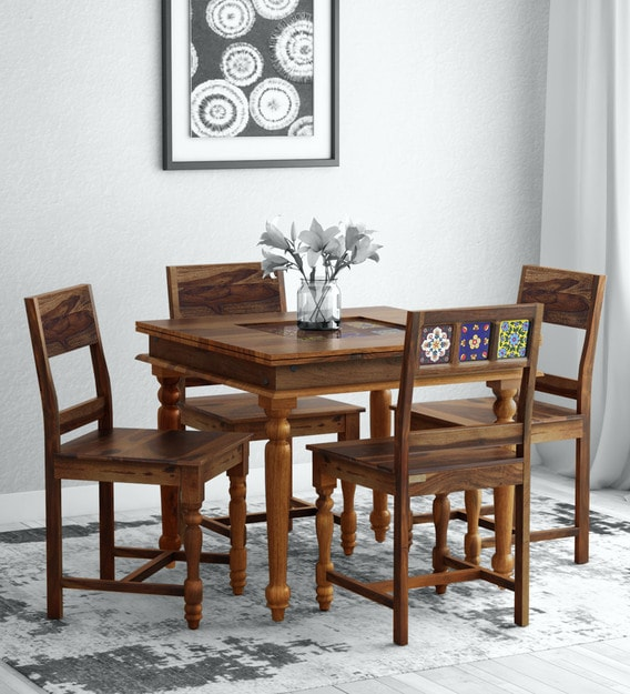 Siramika Solid Wood 4 Seater Dining Set, Teak Dining Room Hutch