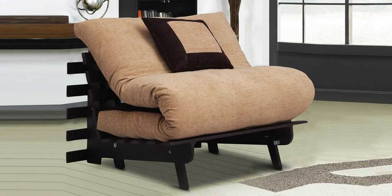 Single Futon With One Pillow in Light & Dark Brown Colour by Auspicious Home