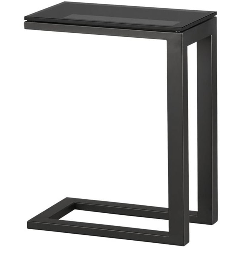 side table c black glass by asian arts