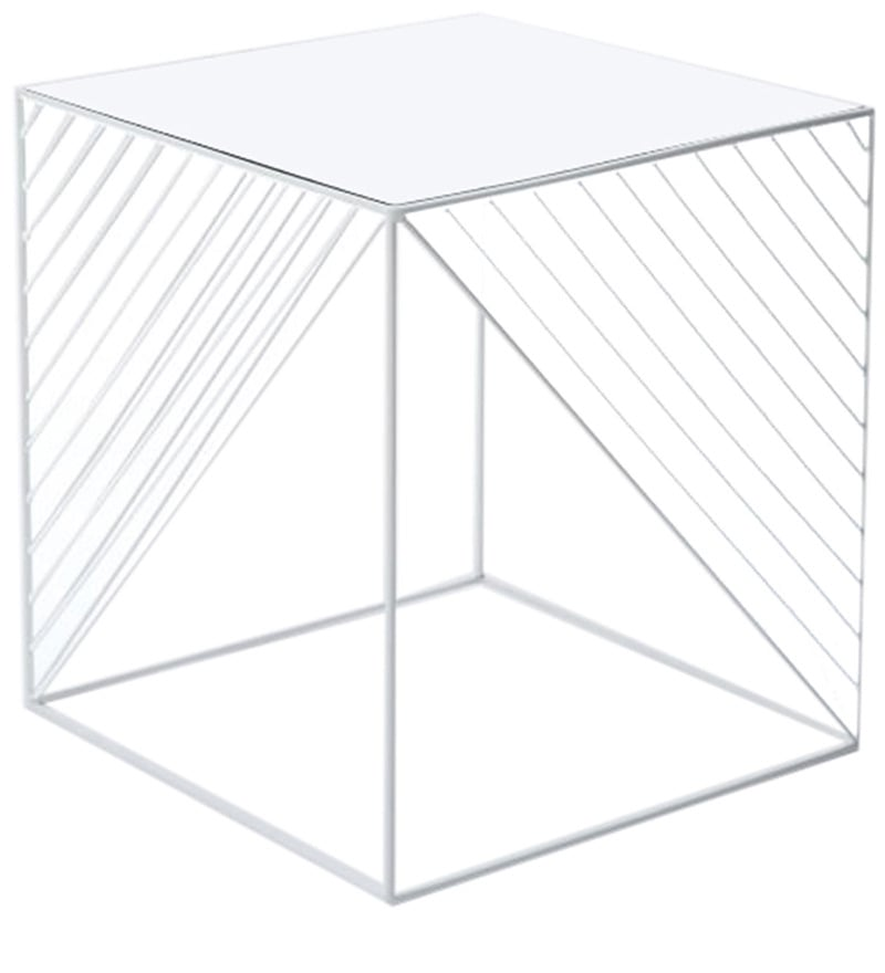 MOD End Table with Clear Glass Top in White Colour by Asian Arts