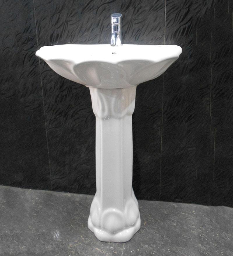Sifon Lotus White Ceramic Wash Basin