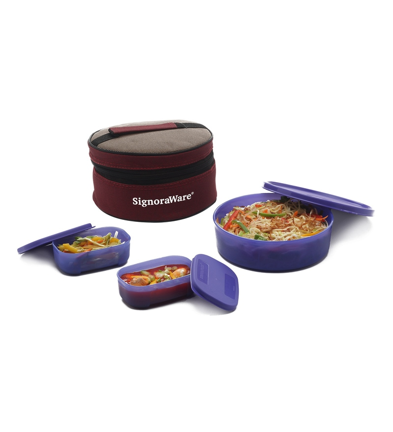 Signoraware Violet Plastic Classic Lunch Box with Bag - Set of 3