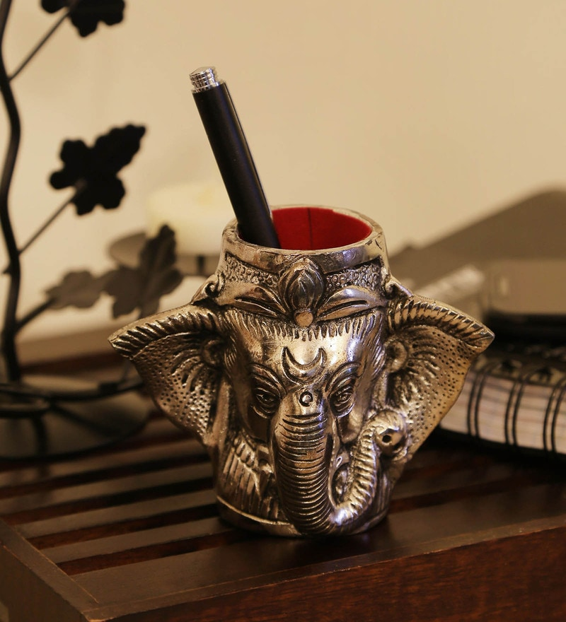 Silver Aluminium Ganesha Pen Holder by GAC Trend