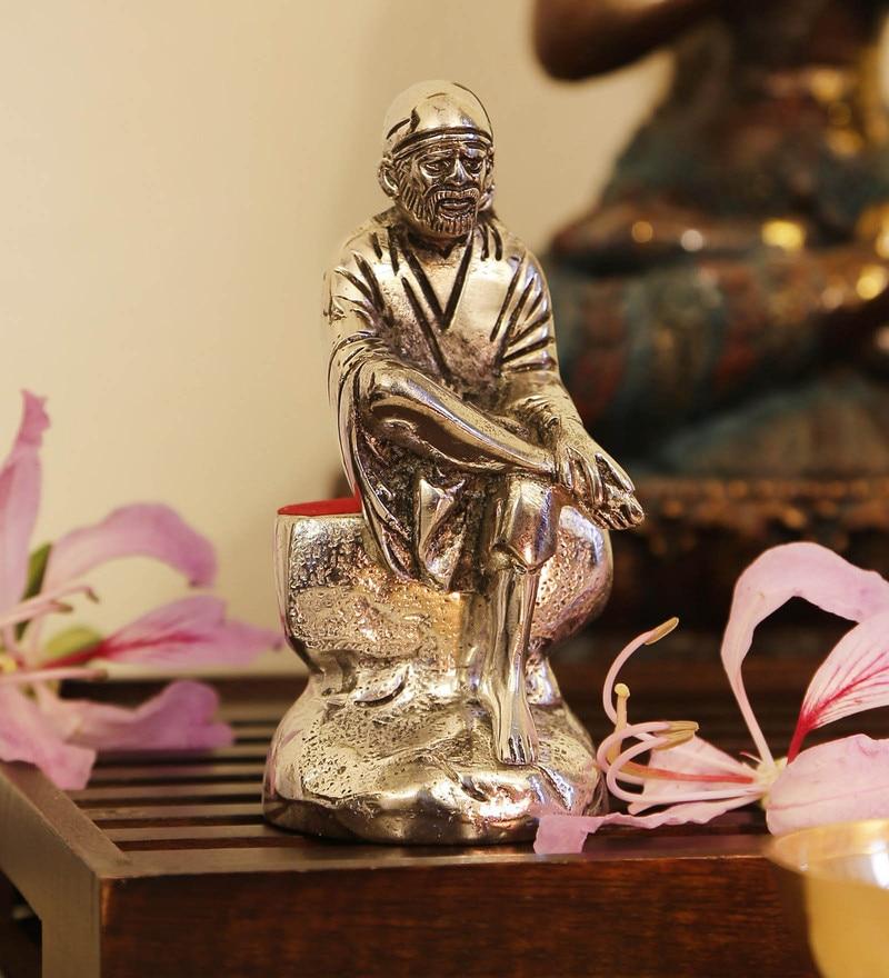Silver Aluminium Shree Sai Baba Idol by GAC Trend
