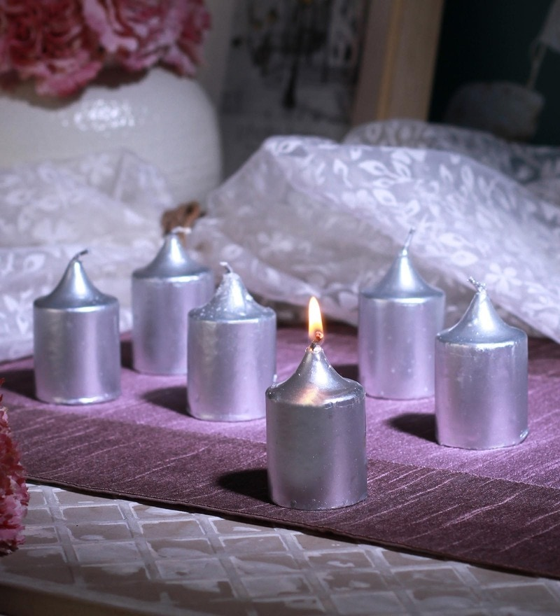 Silver Wax Unscented Votive Candles Set of 6 by Aroma India