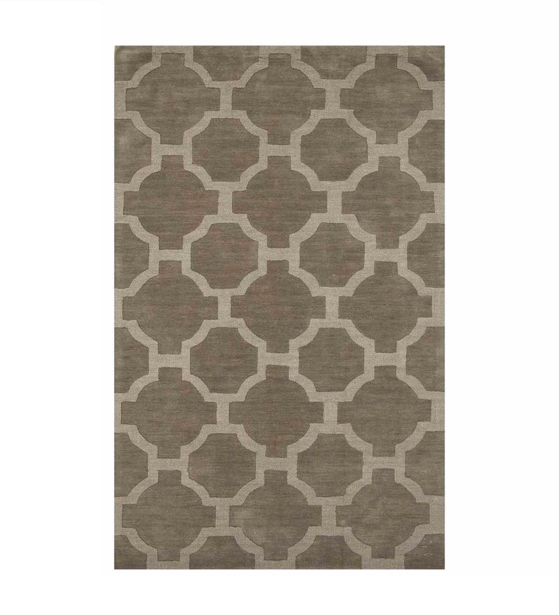 Silver Gray Wool 60X96 Inchs 1 Carpet by Asterlane