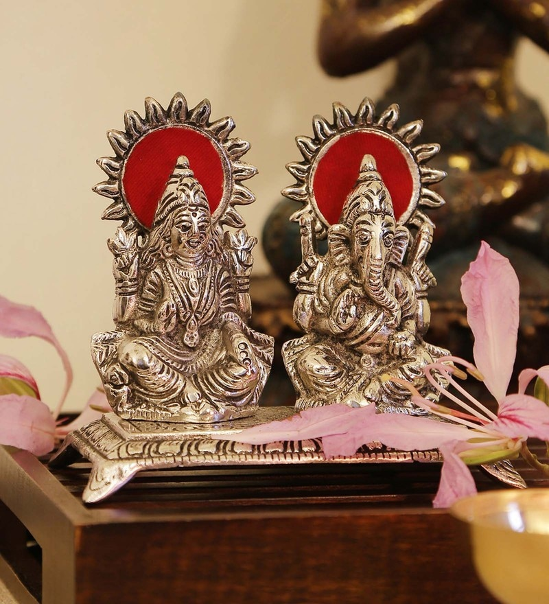 Silver Iron Laxmi-Ganesh on Throne Idol by GAC Trend