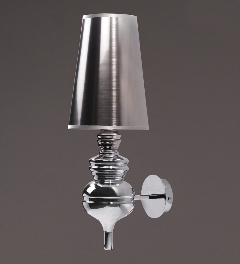Silver Metal and Fabric Wall Light by Voylite