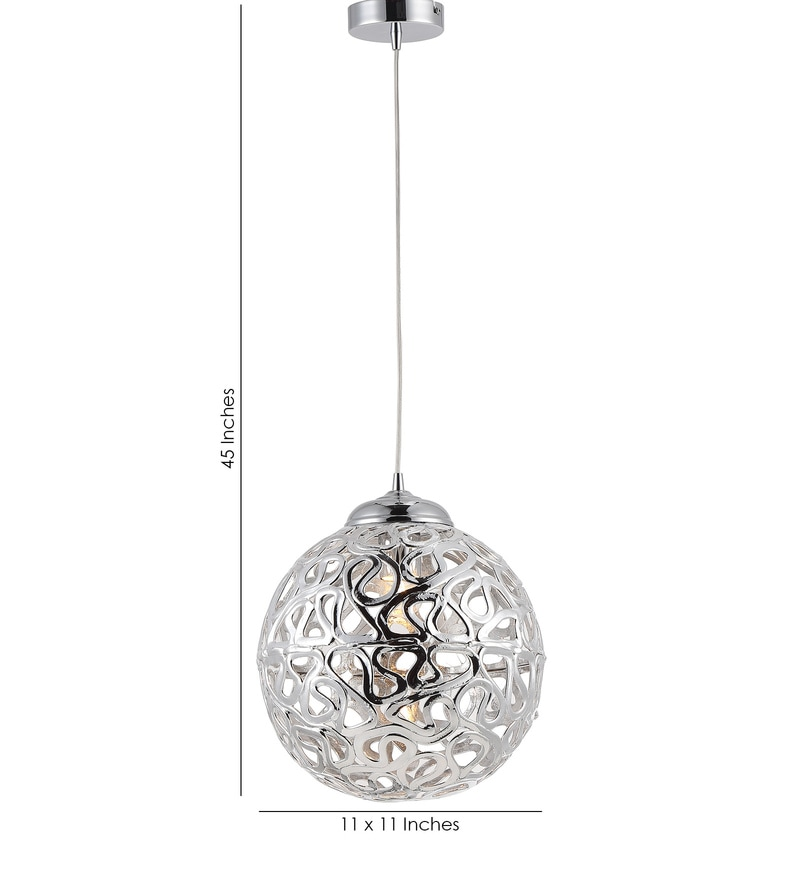 Buy Silver Metal Single Hanging Lights By Stello Online