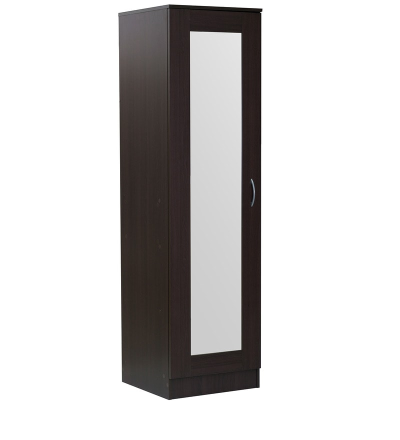 Buy Namito One Door Wardrobe with Mirror in Chocolate Beech Finish