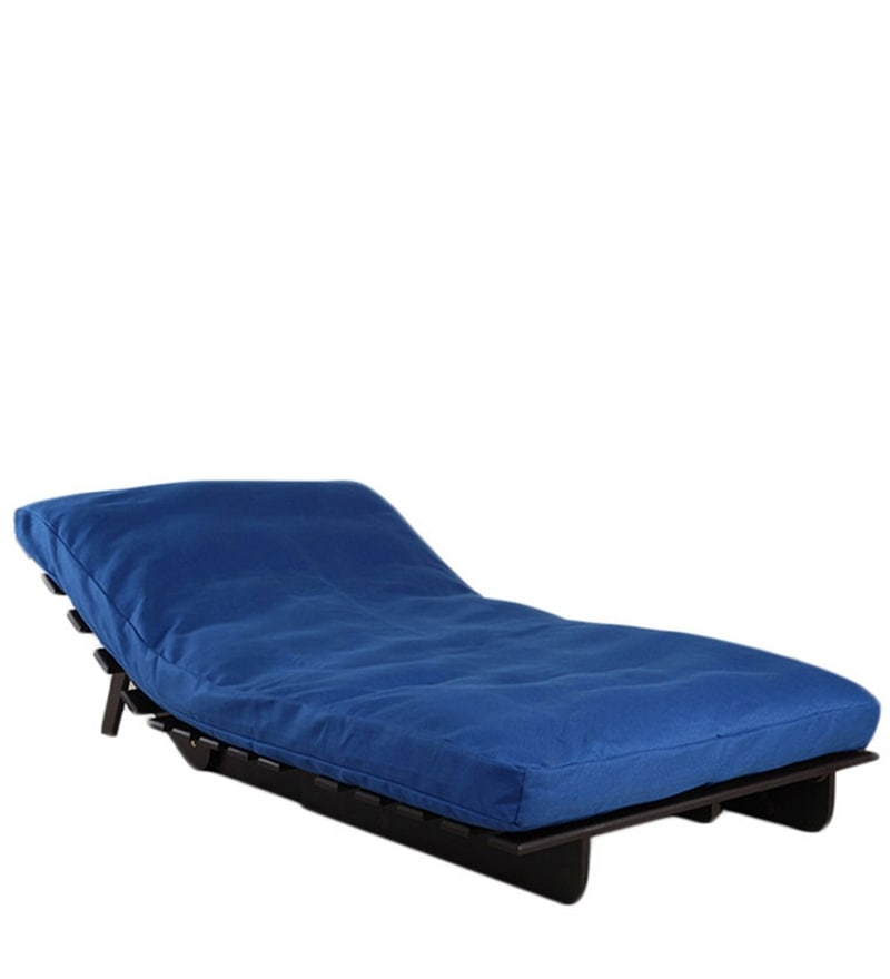 Buy Single Futon Sofa Cum Bed With Mattress In Blue Colour By Arra Online Single Futons