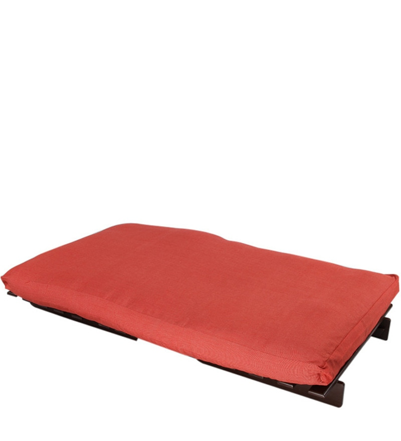 buy single futon sofa cum bed with red mattress by arra online single futons futons. Black Bedroom Furniture Sets. Home Design Ideas