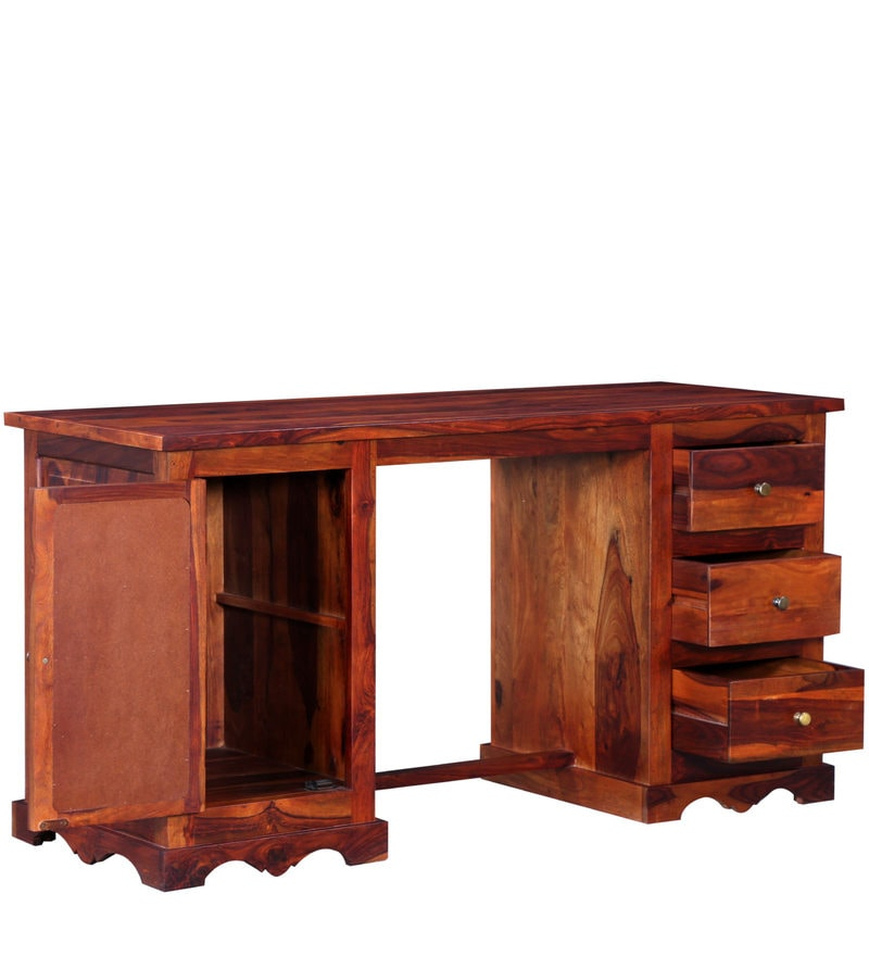 Buy Siramika Solid Wood Study Table In Honey Oak Finish By