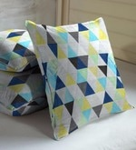 Blue & Green Viscose & Polyester 16 x 16 Inch Geometric Cushion Covers - Set of 3