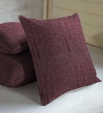 Skipper Maroon Polyester & Cotton 16 x 16 Inch Textures Cushion Covers - Set of 3