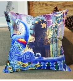 Skipper Light Blue Polyester 12 X 12 Inch Peacock Digital Printed Cushion Cover