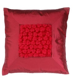 Skipper Maroon Polyester 16 X 16 Inch Fluffy Surface Play Cushion Cover