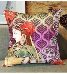 Skipper Multicolour Polyester 16 X 16 Inch Embroidery Digital Printed Cushion Cover - 1594711