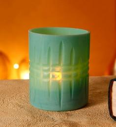 Sky Blue Glass Candle Holder