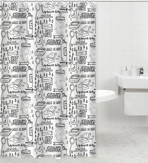 Skipper Black White PVC 70 X 78 Shower Curtain