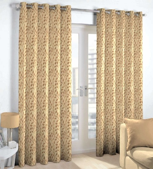 Skipper Brown Viscose Floral 108 X 44 Inch Extra Long Door Curtain