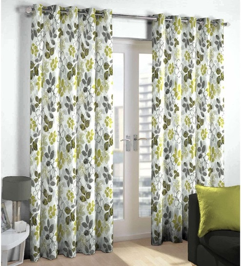 Buy Skipper Green & Grey Polyester & Cotton Floral Window Curtain ...