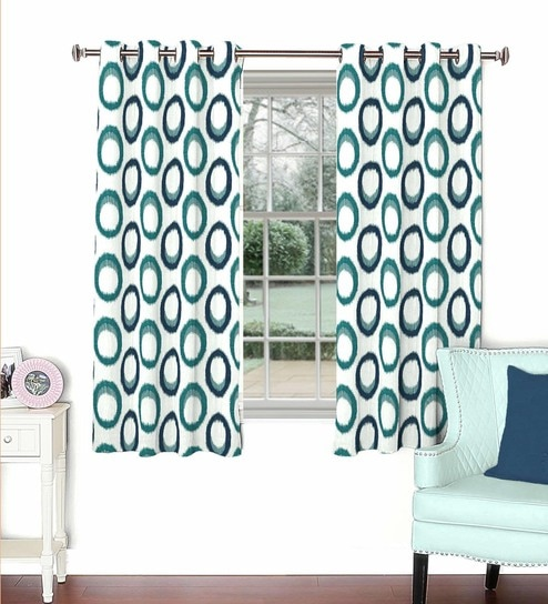 Multicolour Viscose Polyester 44 X 60 Inch Eyelet Window Curtain Model No 092778