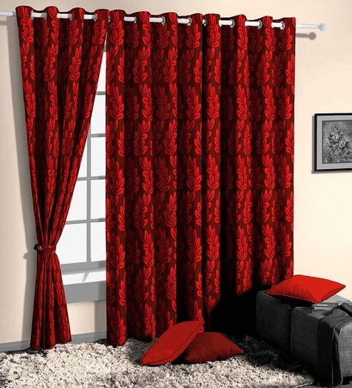 Red Poly Cotton Floral Window Curtain