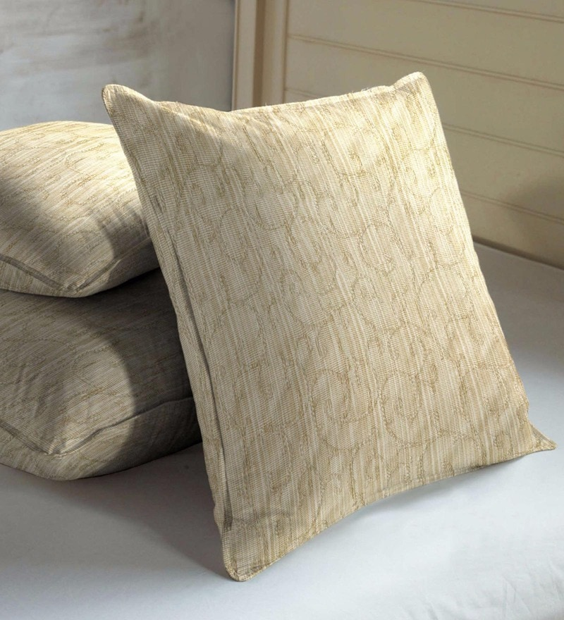 Beige Viscose & Cotton 16 x 16 Inch Indian Ethnic Cushion Covers - Set of 3 by Skipper