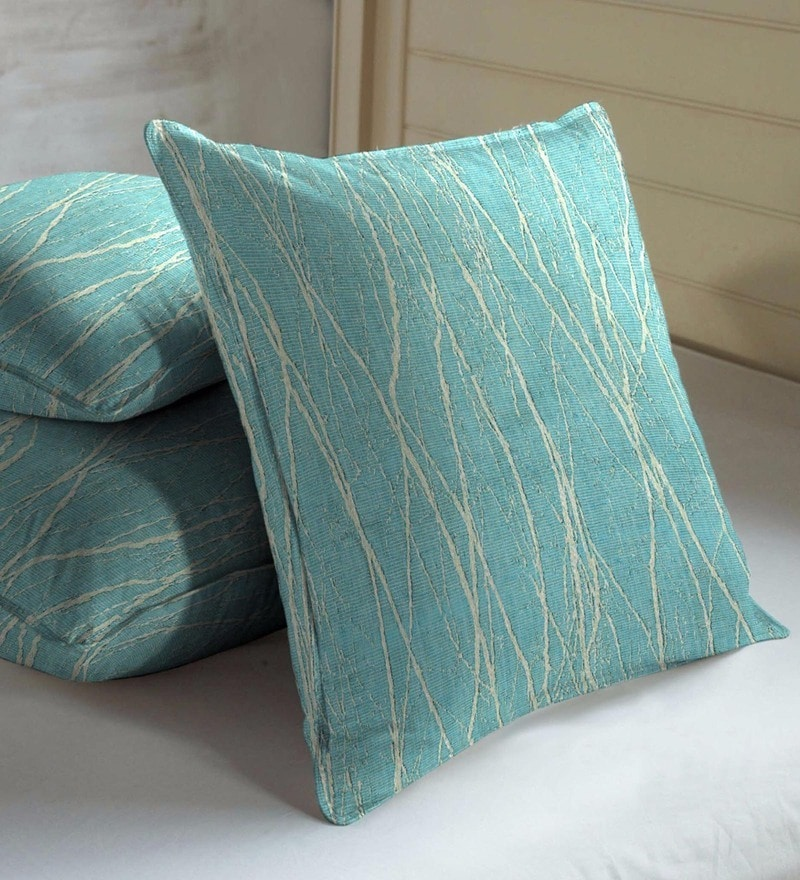 Blue Viscose & Cotton 16 x 16 Inch Cushion Covers - Set of 3 by Skipper