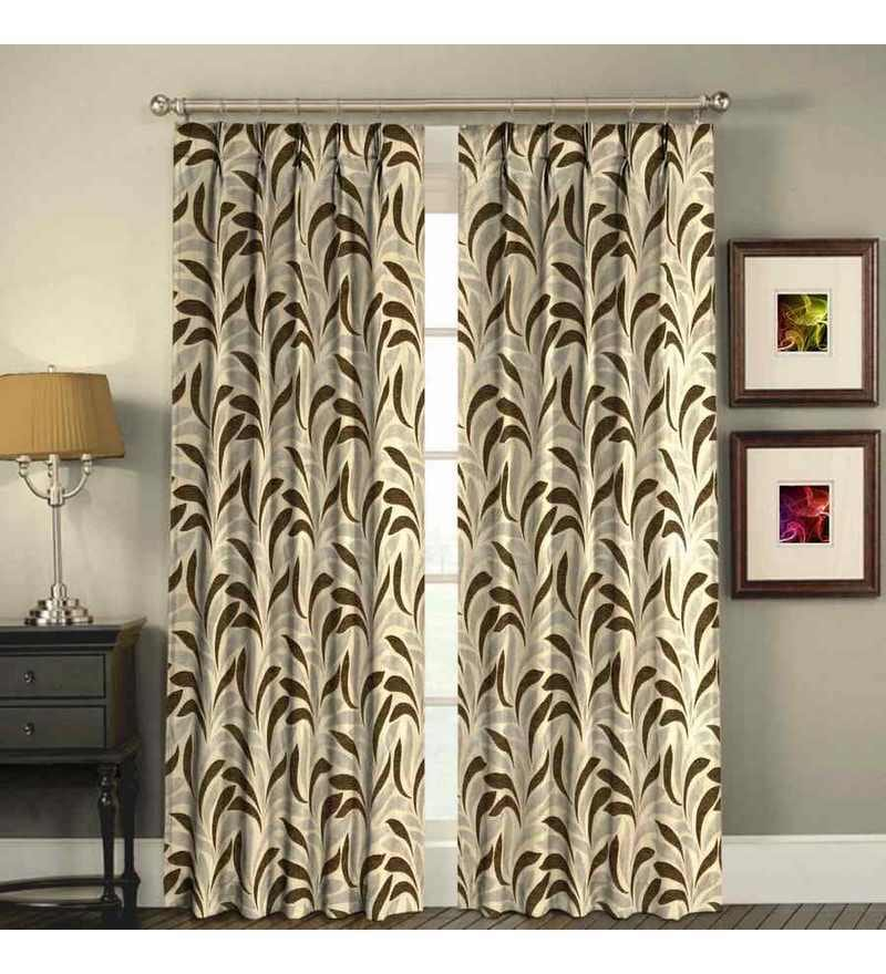 Skipper brown floral pleated door curtains by skipper for Diwan name wallpaper
