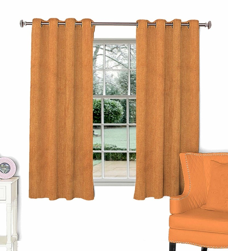 Brown Polyester 44 x 60 Inch Solid Window Curtain by Skipper