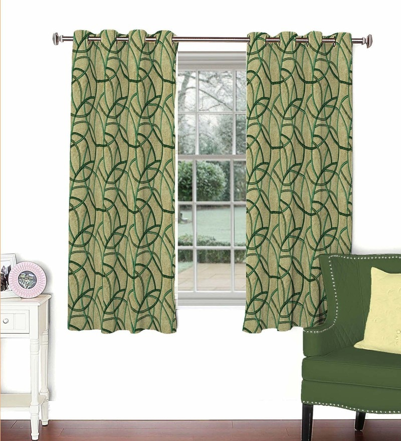 Green Viscose & Polyester 44 x 60 Inch Eyelet Window Curtain (Model No: 090704) by Skipper