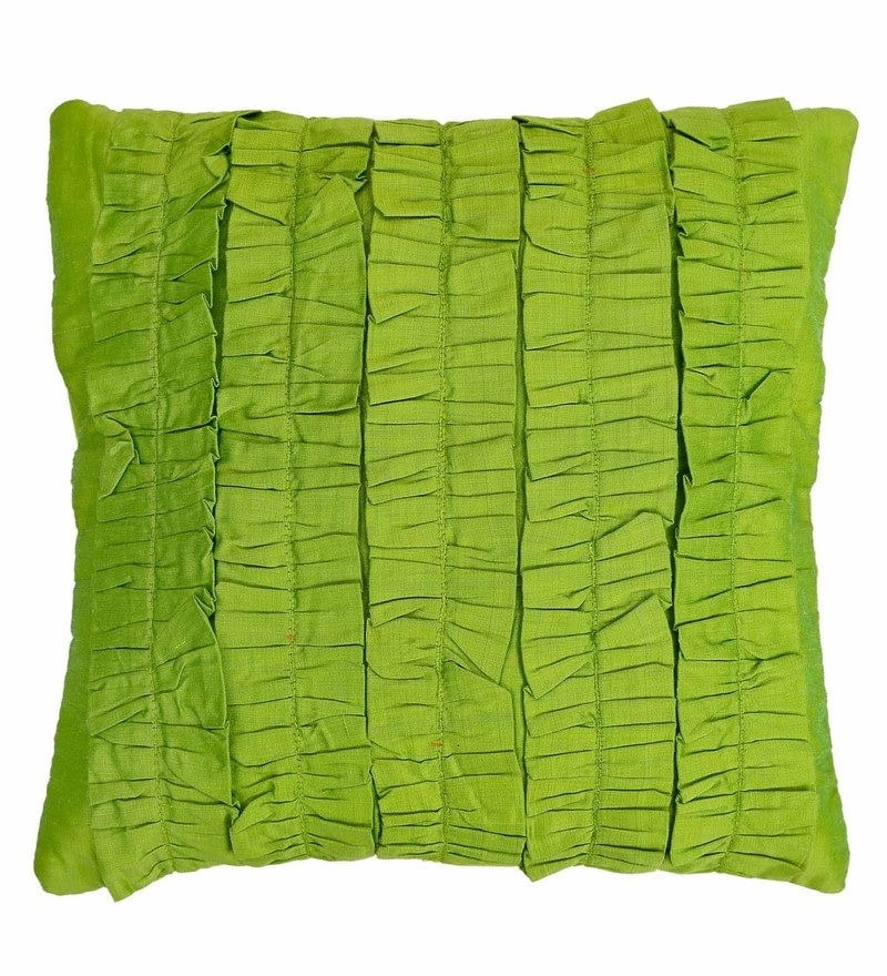 Light Green Cotton 16 x 16 Inch Ruffles Surface Play Cushion Cover by Skipper
