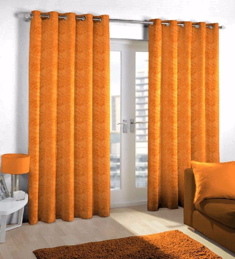 Orange Viscose & Polyester Eyelet Door Curtain by Skipper