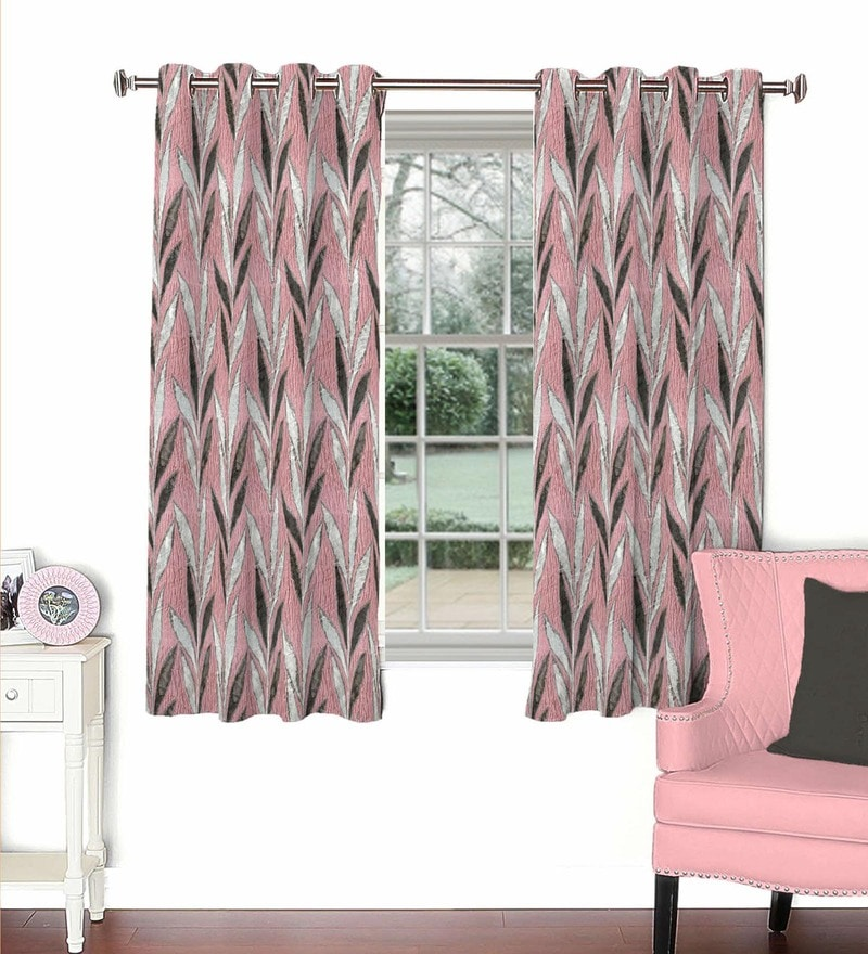 Skipper Pink Viscose & Polyester 44 x 60 Inch Eyelet Window Curtain (Model No: 092604)