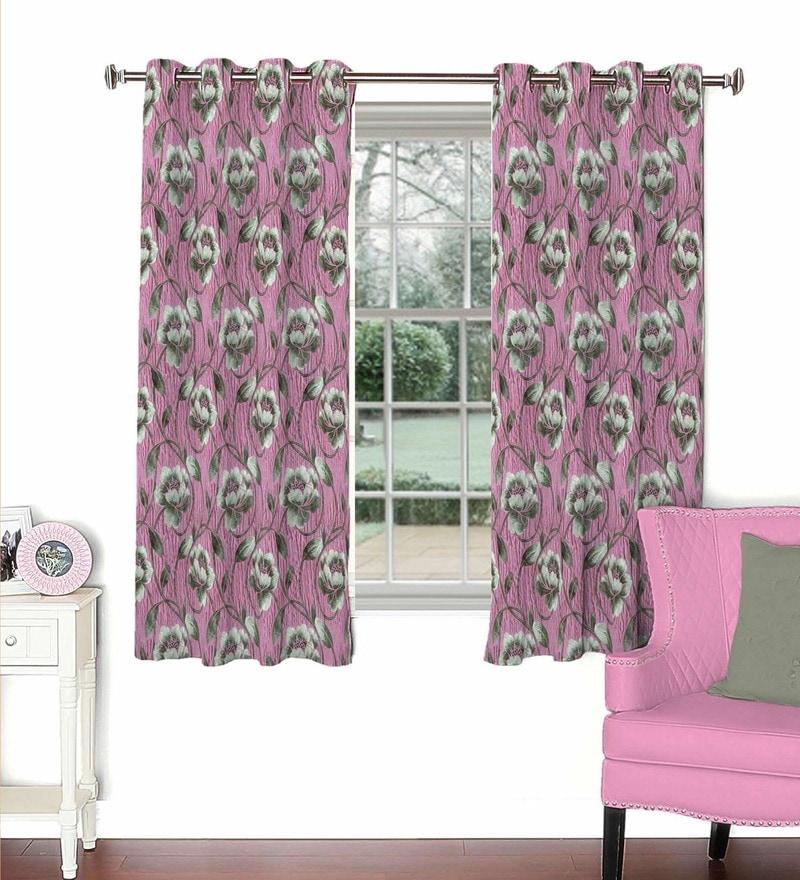 Skipper Pink Viscose & Polyester 44 x 60 Inch Eyelet Window Curtain (Model No: 092606)