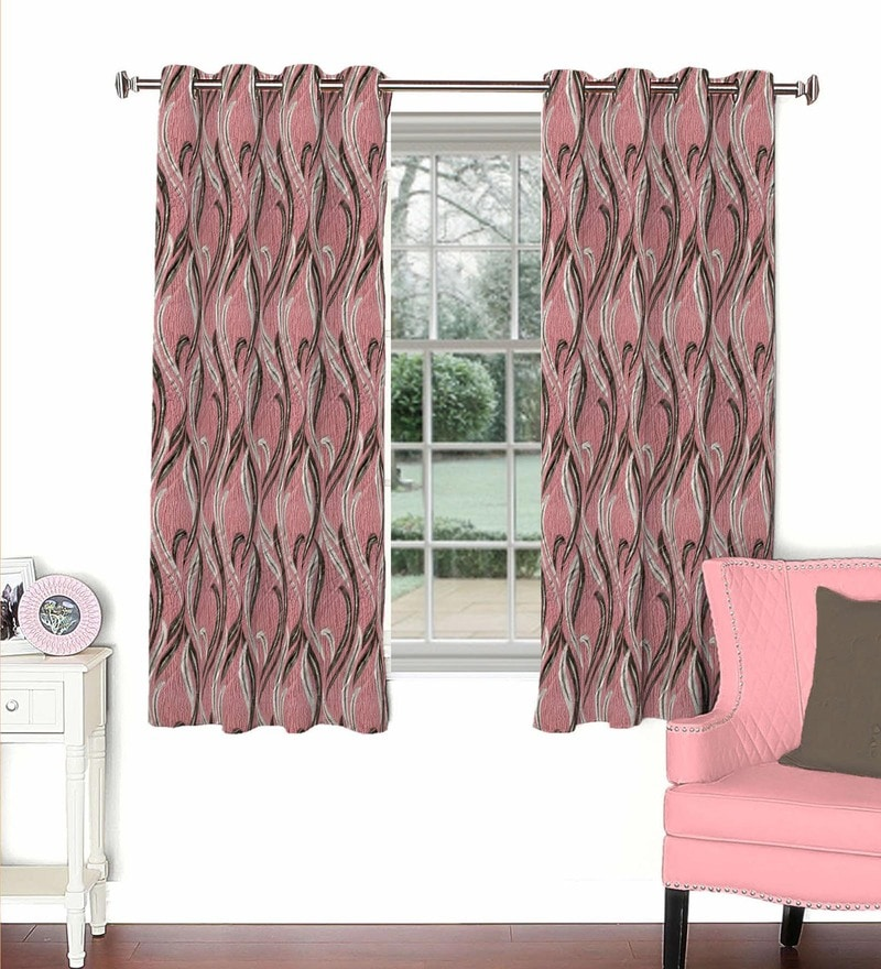 Skipper Pink Viscose & Polyester 44 x 60 Inch Eyelet Window Curtain (Model No: 092607)