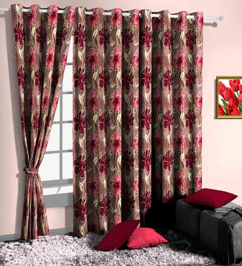 Pink Poly Cotton Floral Window Curtain - Set of 2 by Skipper
