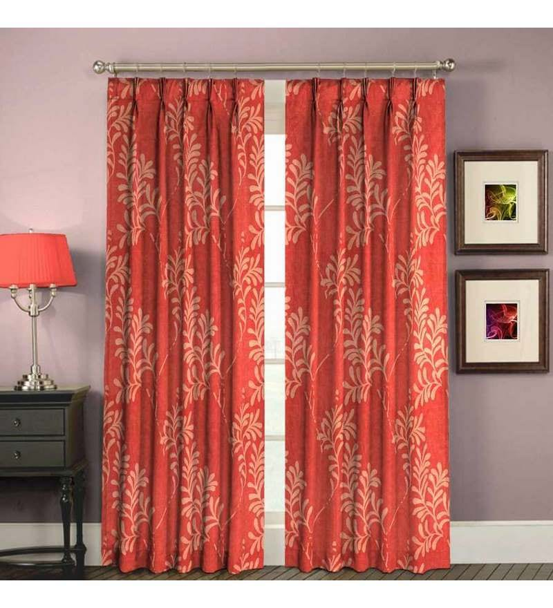 Skipper red pleated curtain by skipper online abstract for Diwan name wallpaper